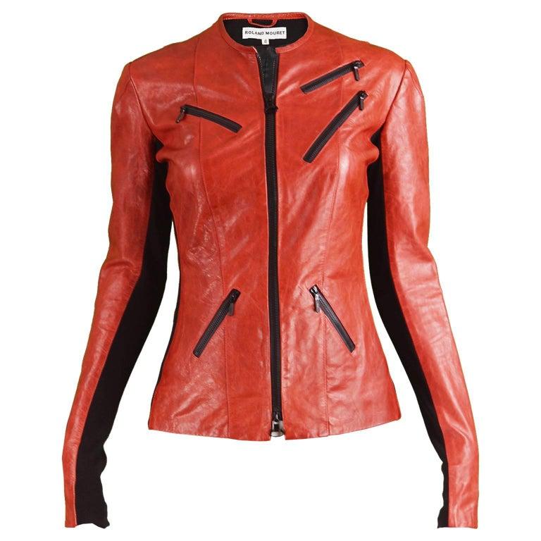 Roland Mouret Red & Black Leather Ladies Marbled Look Slim Fit Biker Jacket