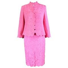 Raffaella Curiel Couture Vintage Pink Brocade Jacket and Dress Suit, 1990s