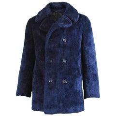 Men's Vintage Dark Blue Double Breasted Faux Fur Pea Coat, 1970s