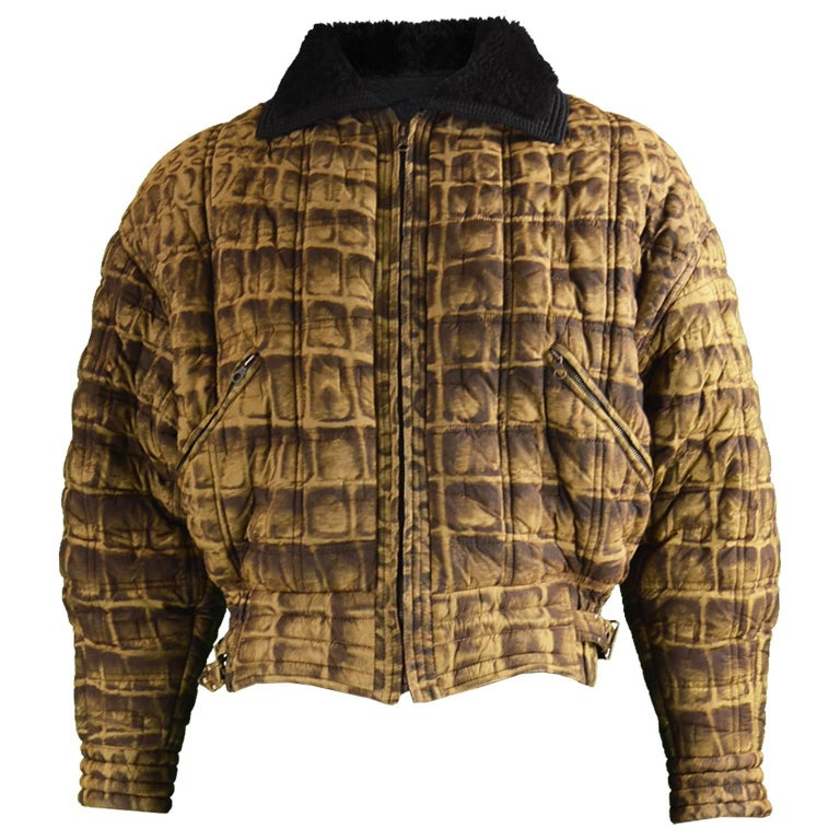 Gianni Versace Men's Quilted Puffer Coat with Shearling Collar, c. 1992