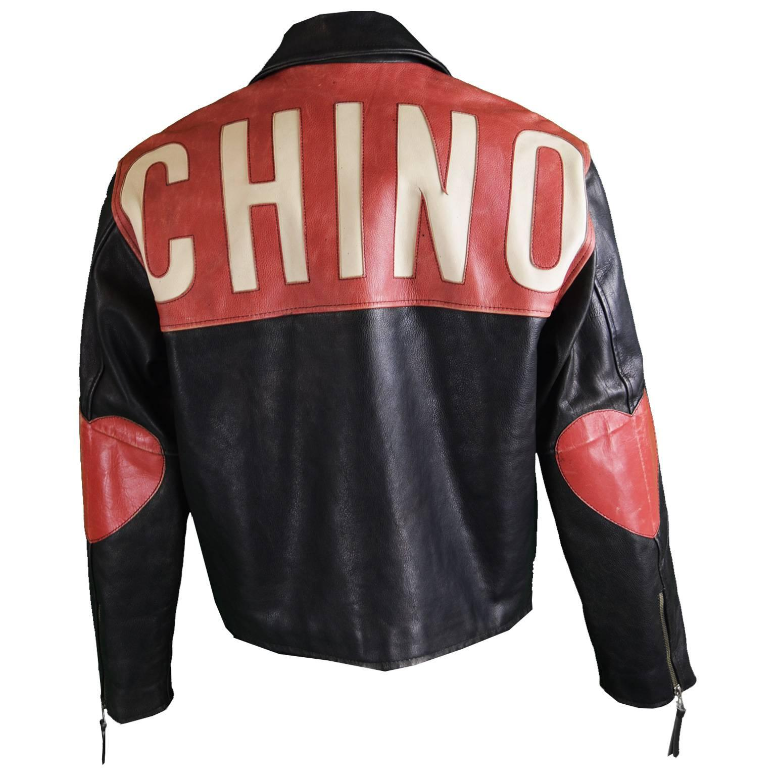 Moschino Men's Vintage Black and Red Love Heart Leather Jacket, 1990s For  Sale