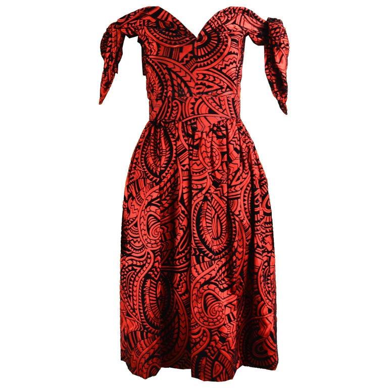 Murray Arbeid Red and Black Flocked Velvet and Taffeta Evening Dress, 1980s