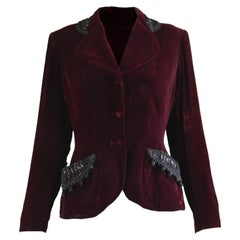Vintage 1940s Red Velvet Womens Beaded Evening Blazer Jacket