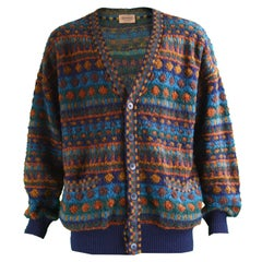 Missoni Mens Textured Italian Wool Vintage Cardigan Sweater, 1990s