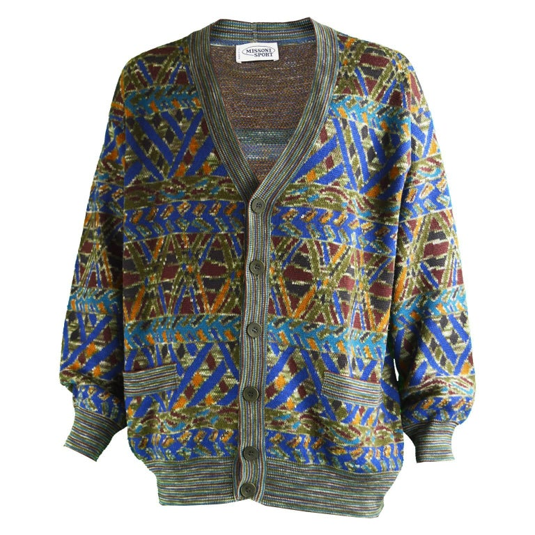 a134c3dc11fcd9 Missoni Men s Vintage Multicolored Patterned Wool Cardigan Sweater ...