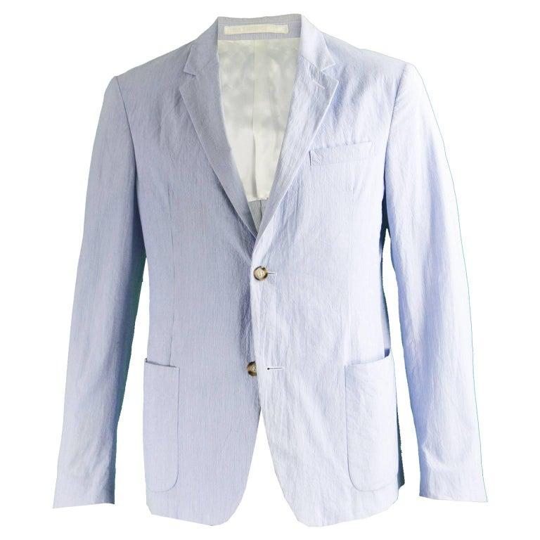 Prada Men's Blue & White Lightweight Cotton Nautical Spring Blazer