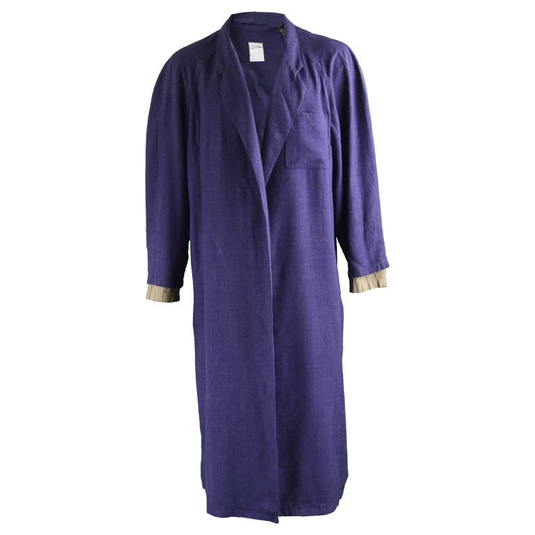 Jean Paul Gaultier Homme Pour Gibo Loose Purple Linen Coat, 1980s