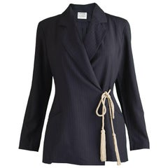 Rifat Ozbek Black Pinstripe Wool Blazer Jacket with Rope Detail, 1990s