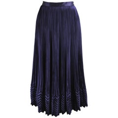 Umberto Ginocchietti Dark Blue Silk Satin Pleated Vintage Skirt, 1980s