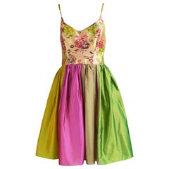 Ben de Lisi Vintage Floral Brocade and Iridescent Metallic Silk Dress, 1990s
