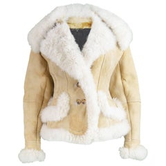 Gianfranco Ferre Women's Fitted Mongolian Lamb Shearling Trim Jacket, 1990s