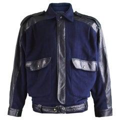 Guy Laroche Men's Vintage Leather & Blue Wool Bomber Jacket, 1980s