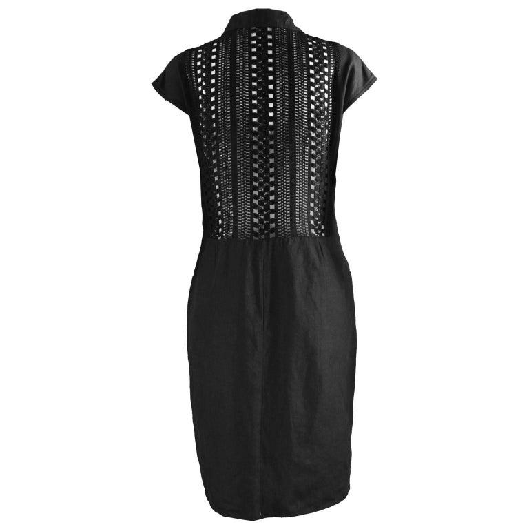 Genny Black Linen Vintage Shift Dress With Sheer Open Crochet Back