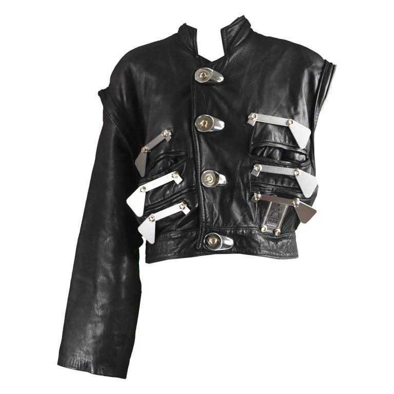 Hi Tek Leather Jacket with Removable Sleeves & Metal Attachments, 1980s
