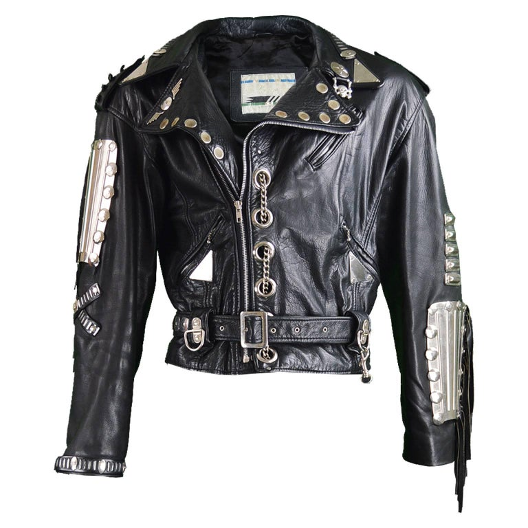 Kim Hadleigh Designs Vintage Men's Armor Plated Leather Jacket, 1980s