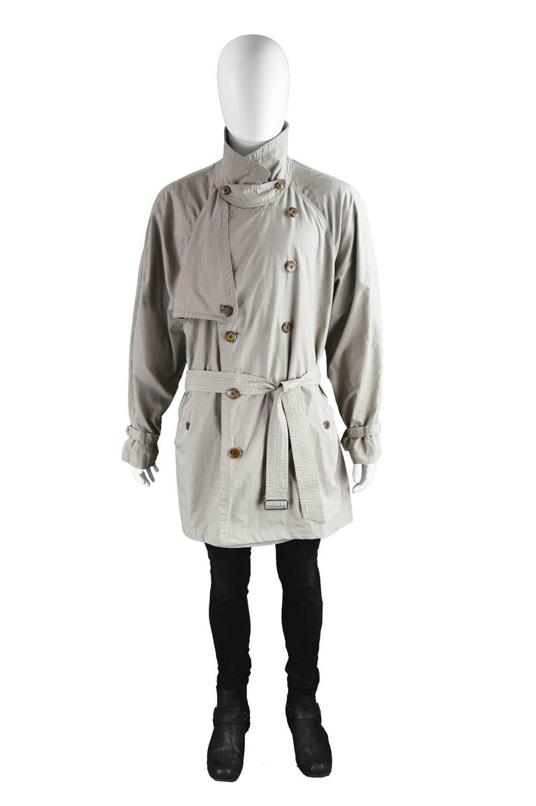 Yves Saint Laurent Men's Lightweight Cotton Double Breasted Trenchcoat, 1990s 2