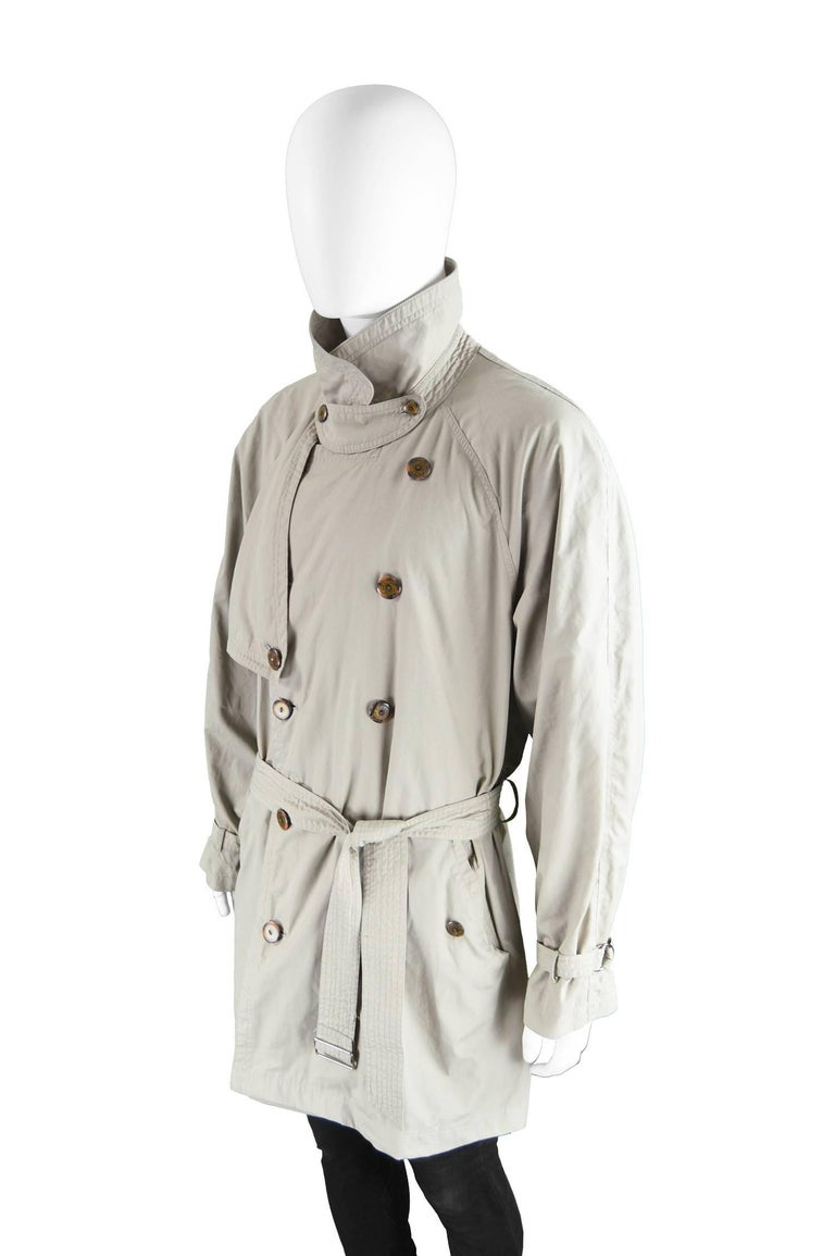 Yves Saint Laurent Men's Lightweight Cotton Double Breasted Trenchcoat, 1990s 3