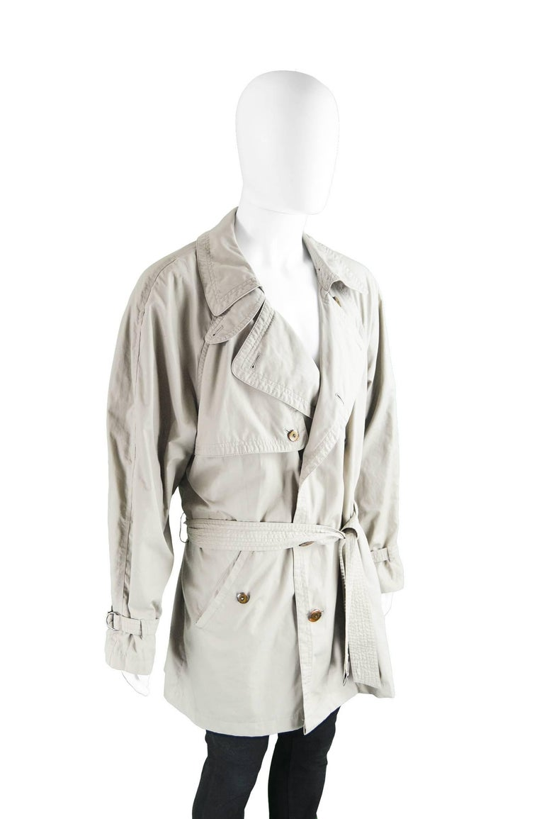 Yves Saint Laurent Men's Lightweight Cotton Double Breasted Trenchcoat, 1990s 4