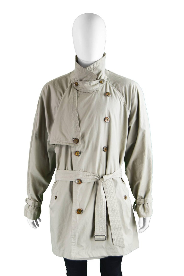 Yves Saint Laurent Men's Lightweight Cotton Double Breasted Trenchcoat, 1990s 5