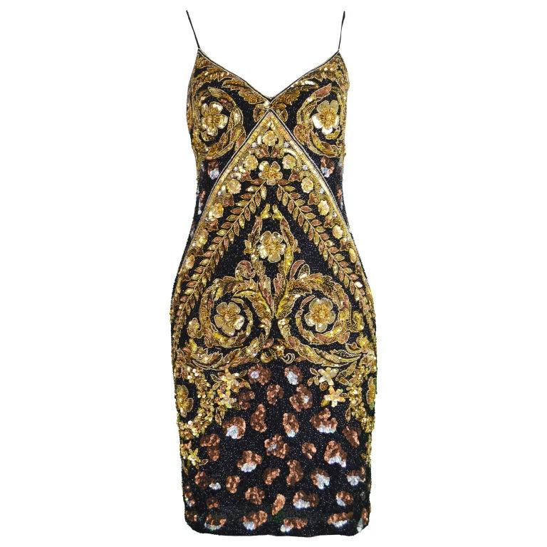 Naeem Khan Vintage Beaded, Sequinned Black & Gold Silk Party Dress, 1980s For Sale