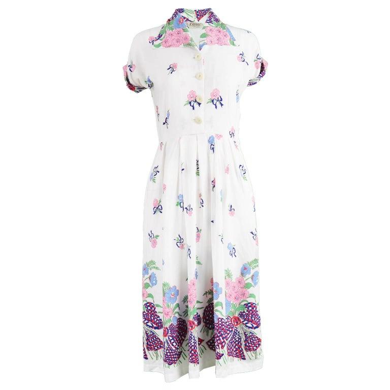 Stefney Vintage 1940s Novelty Ribbon Print White Rayon Dress