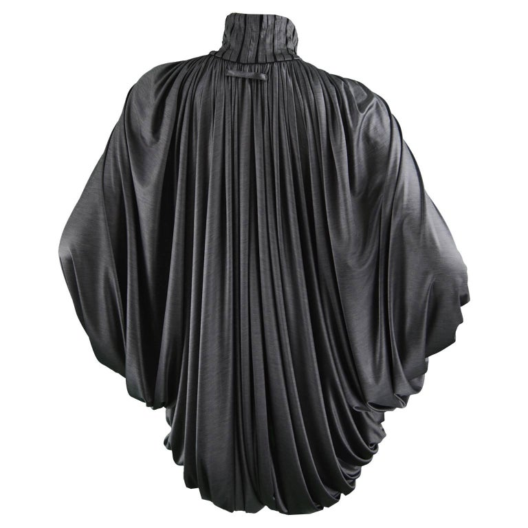 Jean Paul Gaultier Femme Draped Dark Gray Silky Jersey Jacket