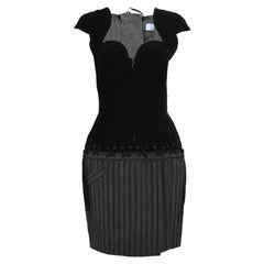 Thierry Mugler Vintage Black Velvet and Striped Wool Corset Style Dress, 1990s