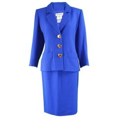 Yves Saint Laurent Blue Wool Blazer and Skirt Suit with Heart Buttons, 1980s