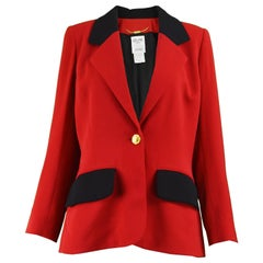 Celine Vintage Red and Black Pure Wool Riding Style Blazer Jacket, 1980s
