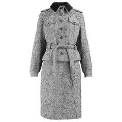Louis Féraud Vintage Grey Wool Tweed Skirt Suit with Velvet Collar, 1970s