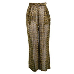 Christian Lacroix Vintage Printed Sheer Chiffon Wide Leg Pants, 1990s