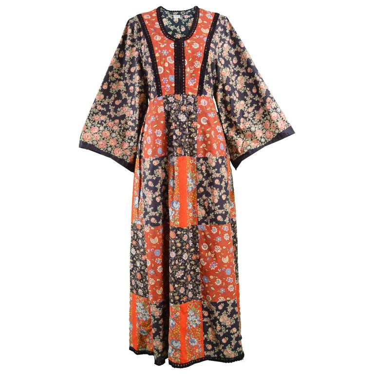 Angela Gore Vintage Patchwork Floral Print Cotton Maxi Kimono Dress, 1970s
