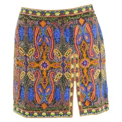 Escada Vintage Intricately Embroidered and Beaded Silk Mini Skirt, 1990s