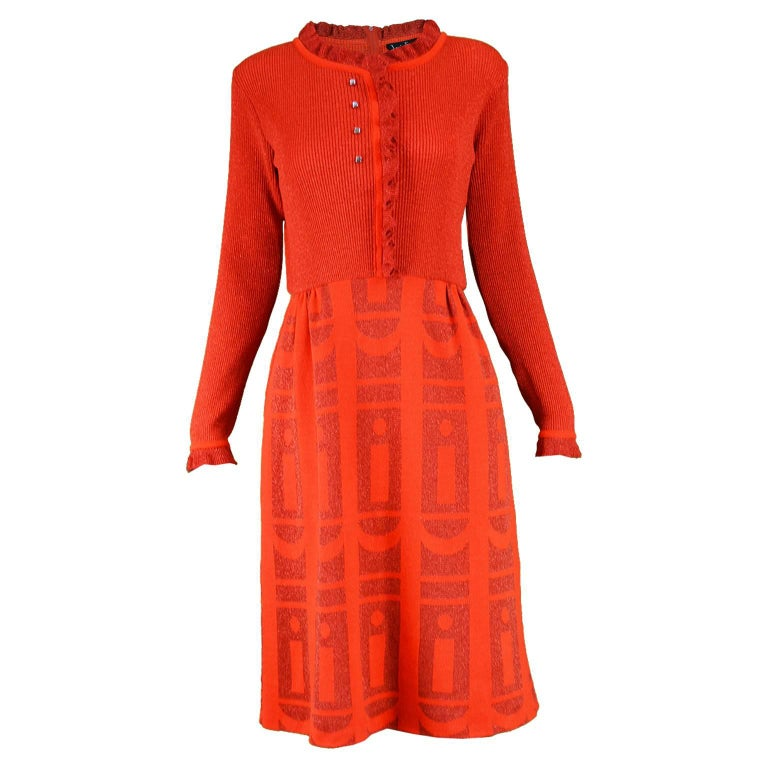 Louis Feraud for Rembrandt Vintage Red Lurex Long Sleeve Knit Dress, 1970s