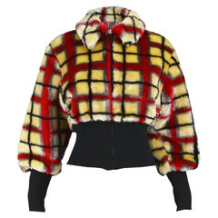 Jean Paul Gaultier Vintage Light Yellow & Red Checked Faux Fur Jacket, 1990s