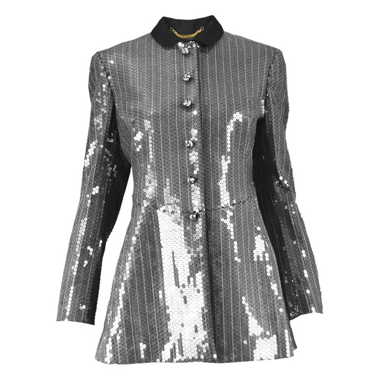 Moschino Couture Clear Silver Sequin Striped Tailored Military Jacket For Sale