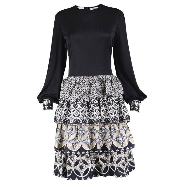 J Tiktiner for Harrods Vintage Silk Ruffle & Black Jersey Dress, 1970s
