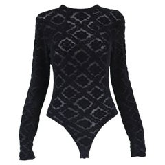 Rifat Ozbek Black Semi Sheer Devoré Velvet Long Sleeve Bodysuit, 1990s