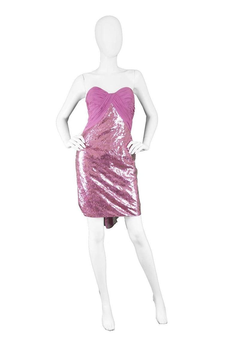 "Vicky Tiel Pink Sequin & Ruched Silk Chiffon Evening Mini Party Dress  Estimated Size: UK 4-6/ US 0-2/ EU 32-34. Please check measurements. Bust - 30"" / 76cm Waist - 24"" / 61cm Hips - 34"" / 86cm Length (Bust to Hem) - 28"" / 71cm  Condition:"