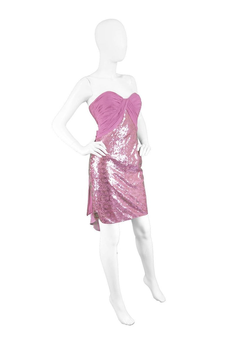 Vicky Tiel Pink Sequin & Ruched Silk Chiffon Evening Mini Party Dress In Excellent Condition For Sale In Doncaster, South Yorkshire