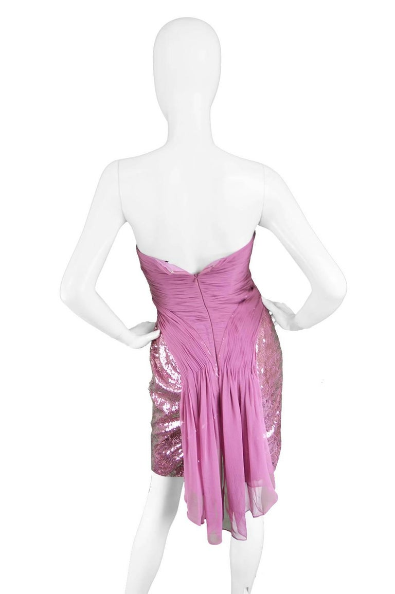Vicky Tiel Pink Sequin & Ruched Silk Chiffon Evening Mini Party Dress For Sale 3