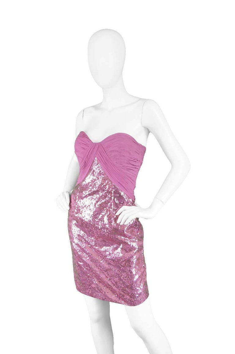 Vicky Tiel Pink Sequin & Ruched Silk Chiffon Evening Mini Party Dress For Sale 2