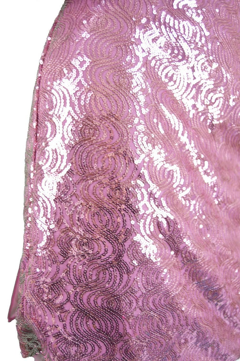 Vicky Tiel Pink Sequin & Ruched Silk Chiffon Evening Mini Party Dress For Sale 1