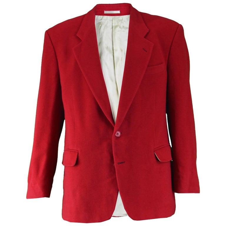 Yves Saint Laurent Men's Vintage Dark Red Wool & Cashmere Blazer, 1980s