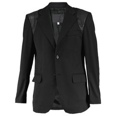 John Richmond Men's Blazer Jacket with Black Leather Shoulder Panels