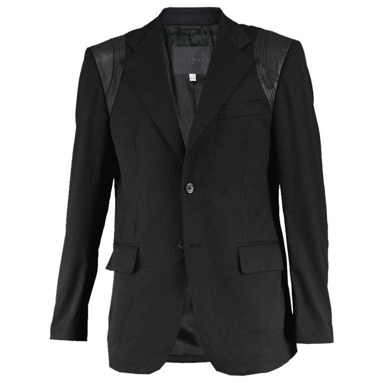 John Richmond Men's Blazer Jacket with Black Leather Shoulder Panels For Sale