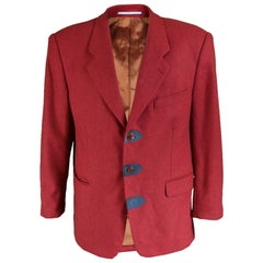 Kenzo Men's Vintage Red Herringbone Wool Blazer with Suede Details, 1980s