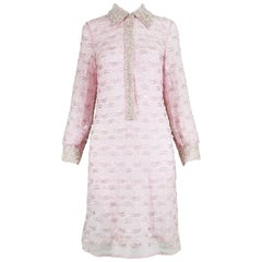 Ma Cherie Vintage 1960s Pink Hand Beaded & Sequinned Lace Shift Dress