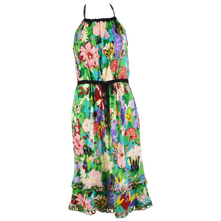 Ken Scott Brightly Printed Tropical Backless Halterneck Jersey Dress