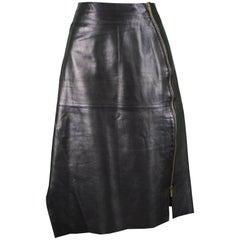 Kenzo Black Lambskin Leather Panelled Asymmetrical Biker Skirt, 1980s